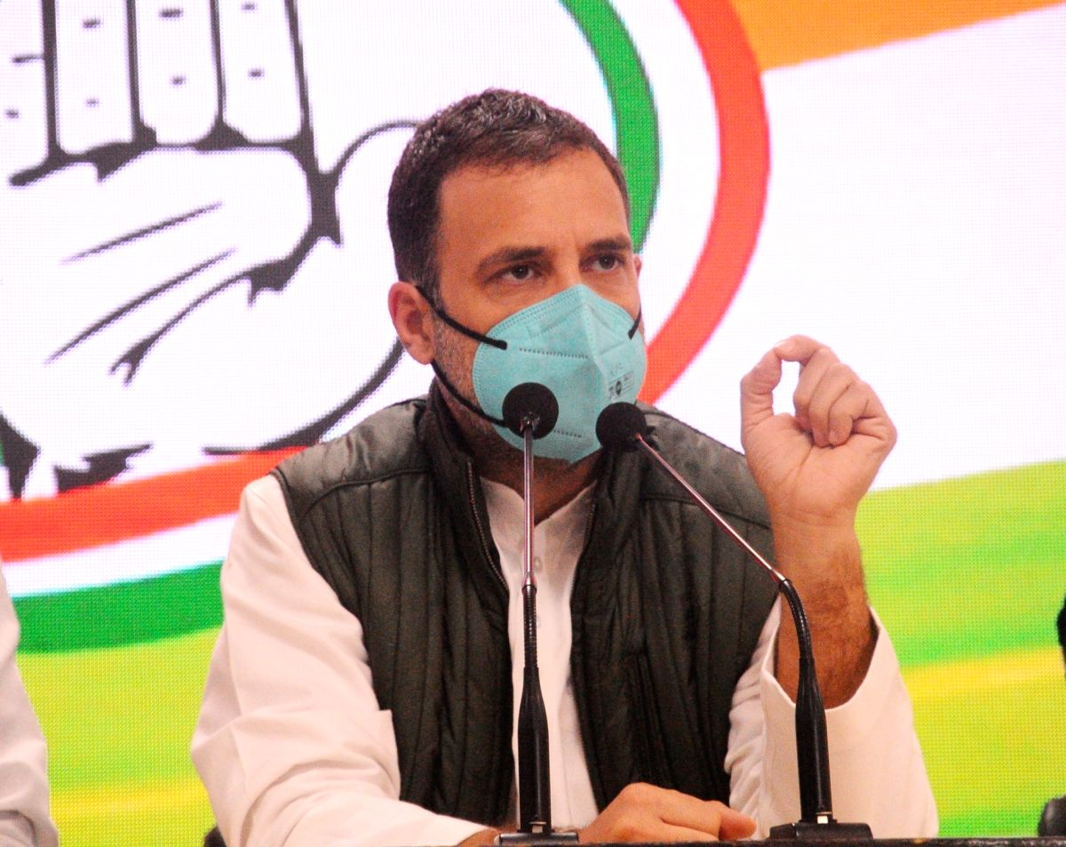 New Delhi:  Former congress President Rahul Gandhi addressing a press conference at Party Headquarters in new Delhi on Tuesday on 19 January 2021 (Photo: Bidesh Manna/IANS)