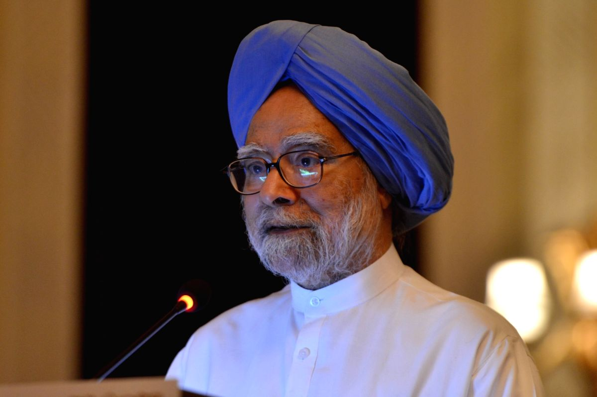 "New Delhi: Former Prime Minister Manmohan Singh addresses at the launch of Former Rajya Sabha MP Karan Singh's book ""An Examined Life"" in New Delhi, on May 20, 2019."