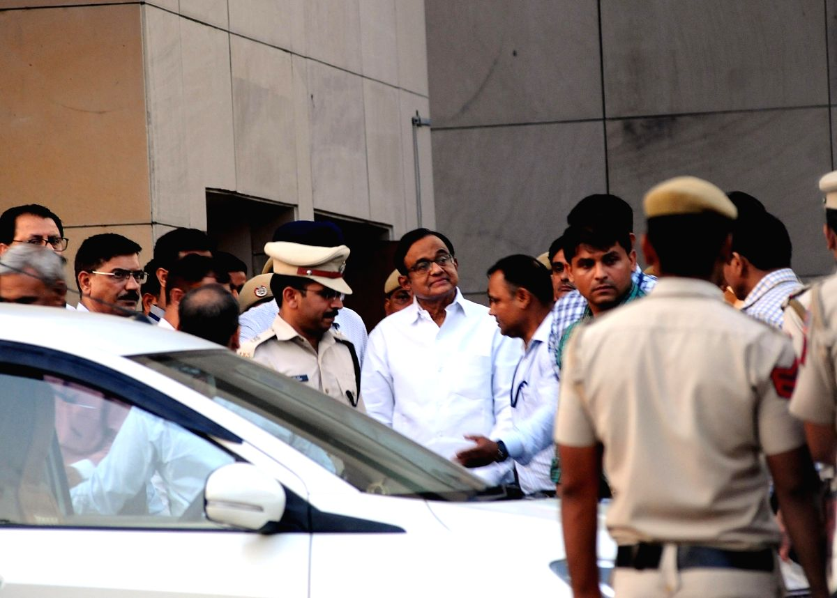 New Delhi: Former Union Minister P. Chidambaram at Rouse Avenue court complex in New Delhi on Aug 22, 2019. A special CBI court here on Thursday granted the probe agency four days of custody of former Union Minister P. Chidambaram for questioning in