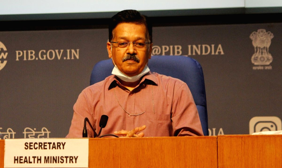 New Delhi: Health Secretary Rajesh Bhushan briefs the media on the current COVID-19 situation in the country, at Nation Media Centre in New Delhi on Sep 22, 2020.