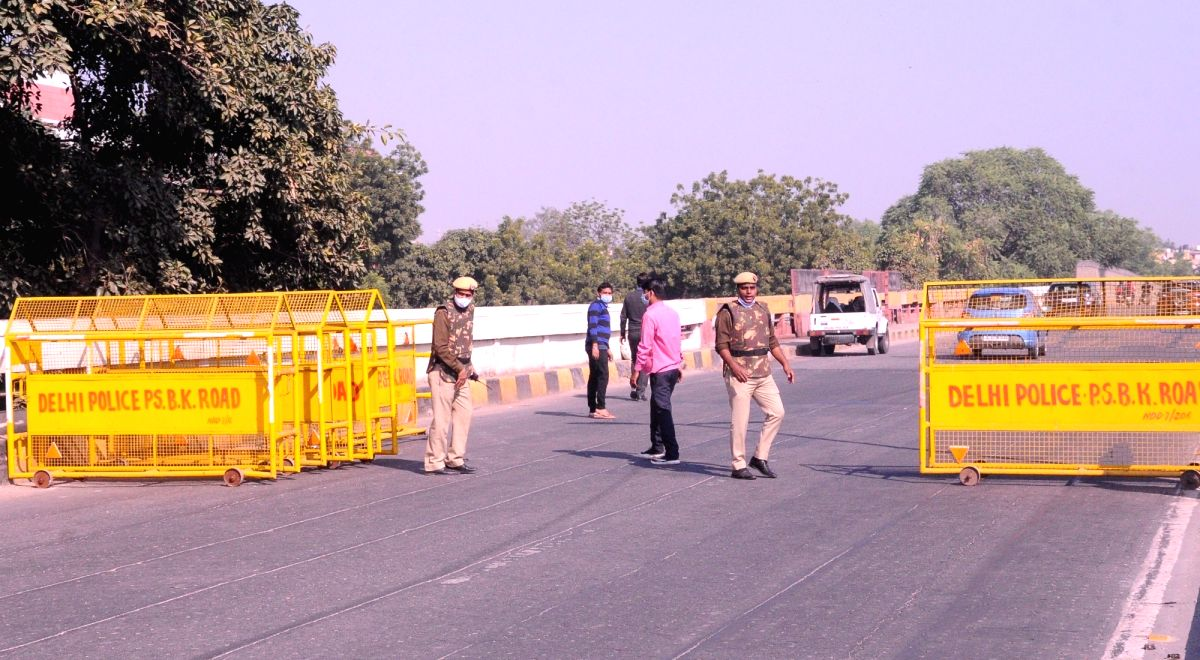 New Delhi: Heavy security deployment and barricading at one of the borders of the national capital in the wake of the farmers' protest against the Centre's three Farm Laws, on Nov 27, 2020.