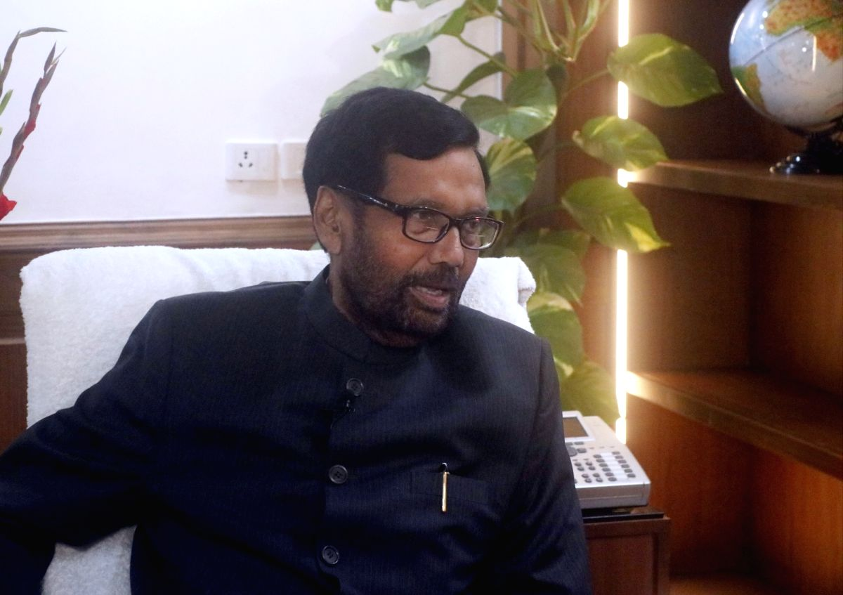New Delhi: IANS Executive Editor Deepak Sharma and Parmod Jha with Union minister and Lok Janshakti Party chief Ram Vilas Paswan during an exclusive interview with IANS, in New Delhi on Feb 21, 2020.