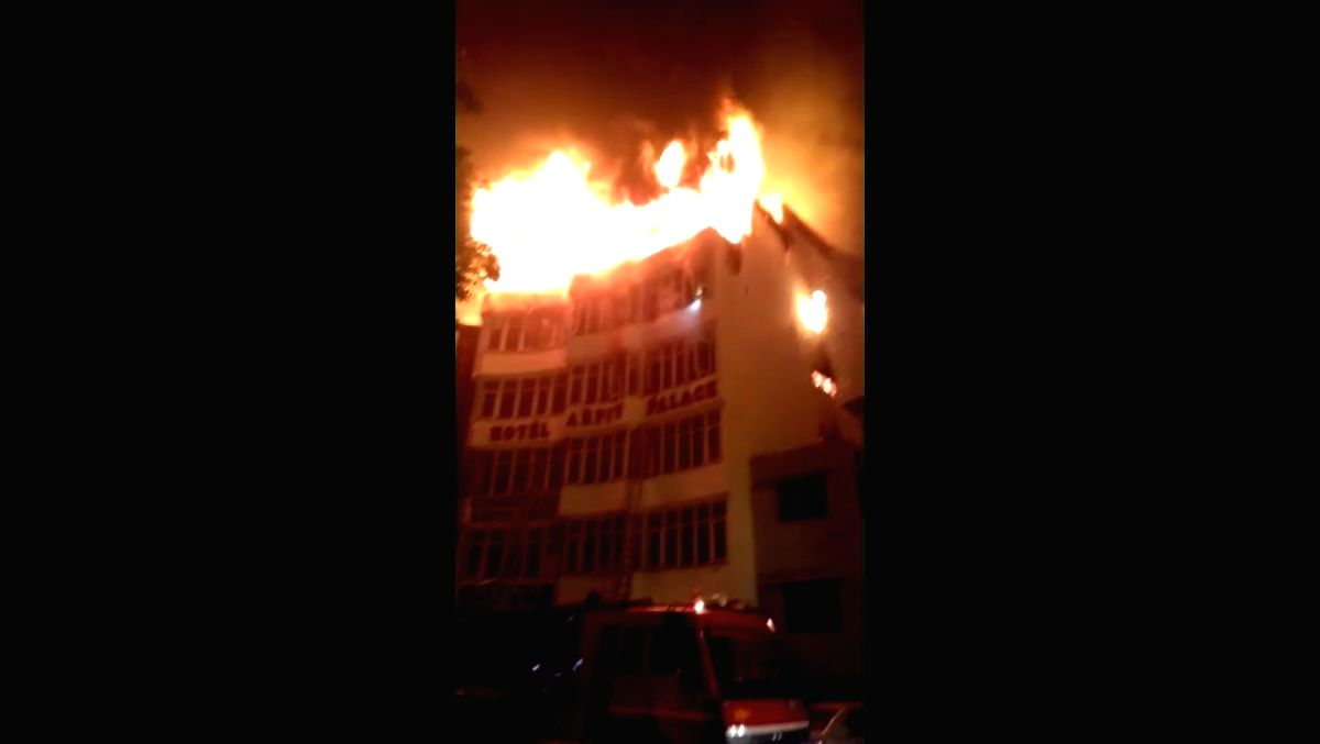 New Delhi: Imphal: A massive fire breaks out at Hotel Arpit Palace in Karol Bagh killing seventeen people, including a child and injuring three others in New Delhi on Feb 12, 2019.