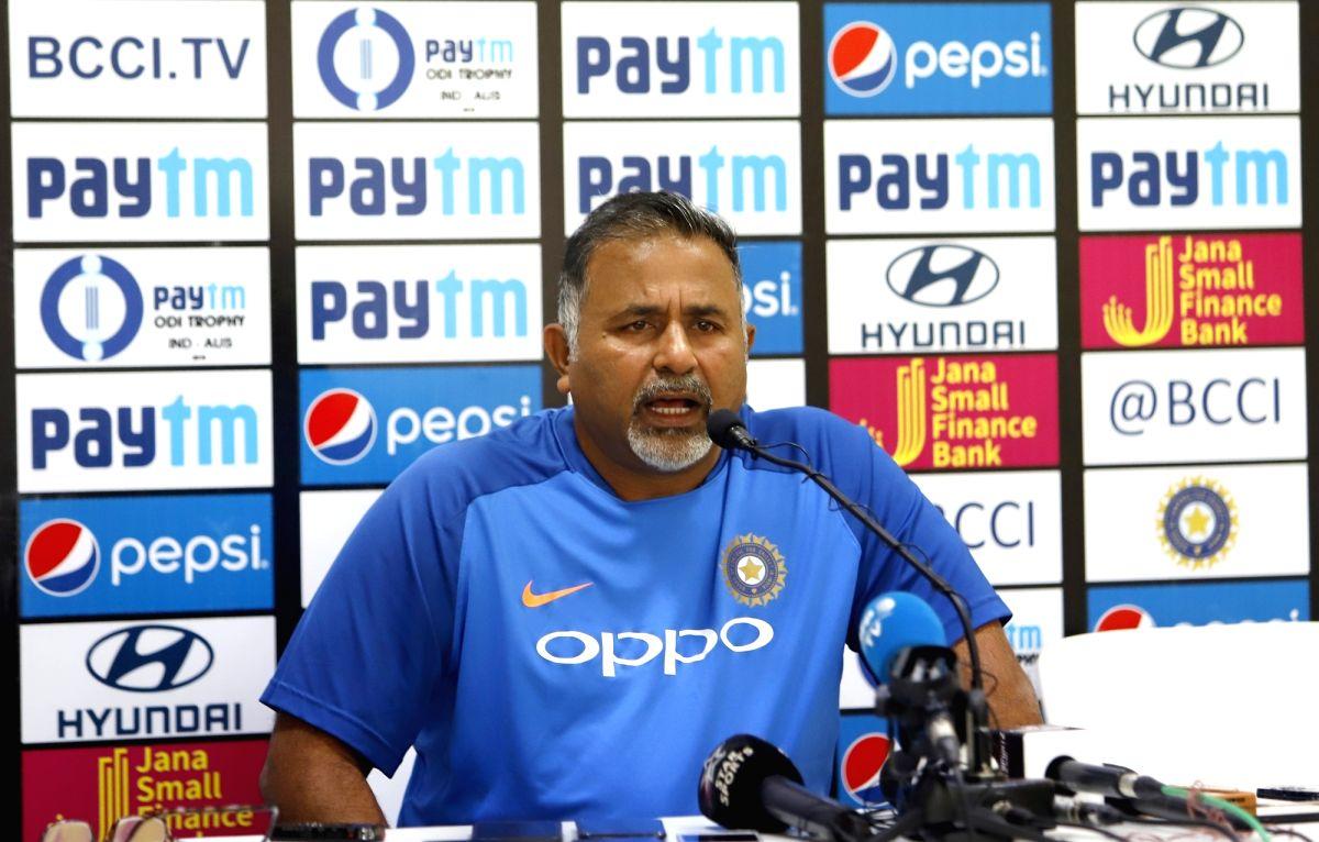 New Delhi: India's bowling coach Bharat Arun addresses a press conference ahead of the fifth ODI match between India and Australia at Feroz Shah Kotla Stadium, in New Delhi, on March 12, 2019. (Photo: Surjeet Yadav/IANS)