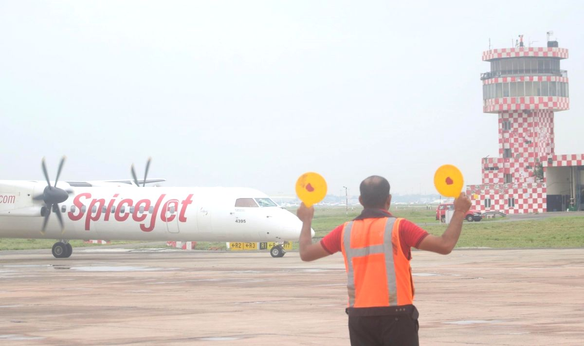 New Delhi: India's first flight partially powered by Bio-Fuel after successfully completing its test flight from Dehradun to Delhi, at terminal 2 of the Indira Gandhi International Airport, in New Delhi on Aug 27, 2018.
