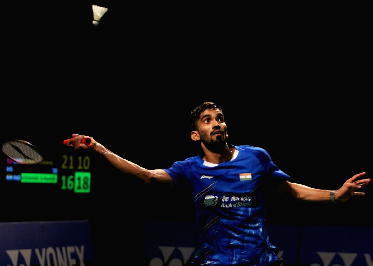 New Delhi: India's Kidambi Srikanth in action against China's Huang Yuxiang during the 2019 India Open badminton tournament in New Delhi, on March 30, 2019. Kidambi Srikanth beat China's Huang Yuxiang 16-21, 21-14, 21-19 on Saturday to enter the fina