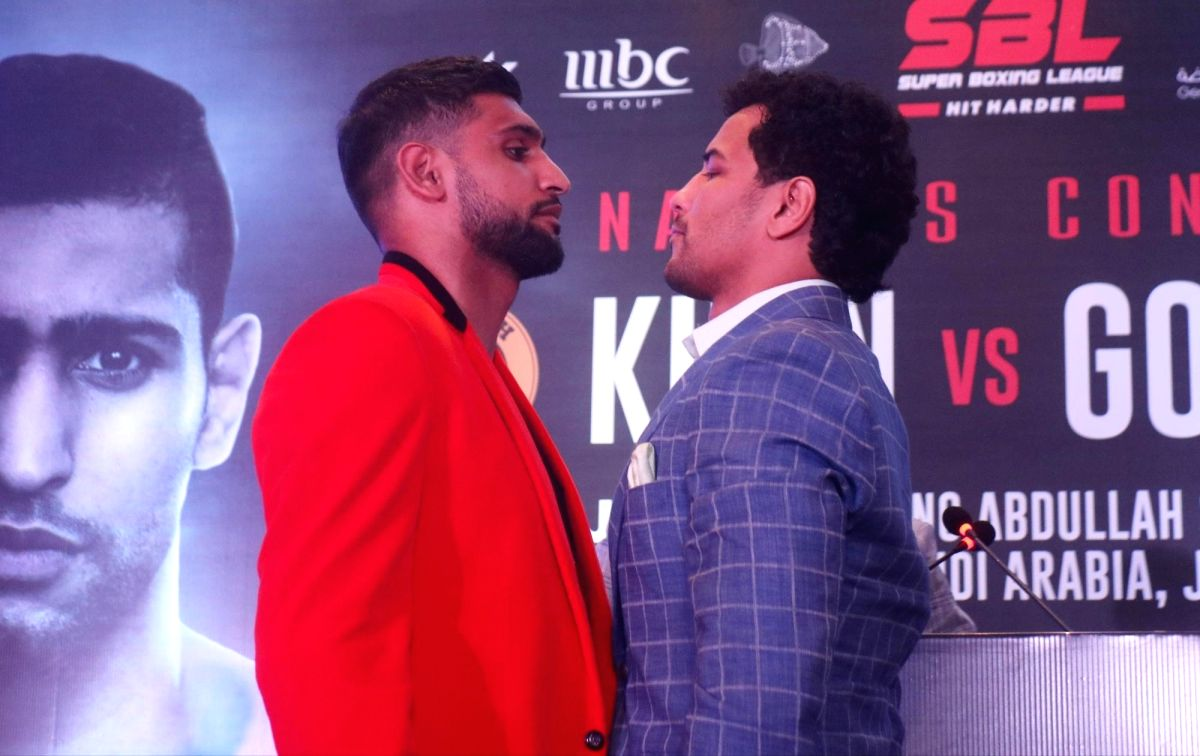 New Delhi: Indian boxer Neeraj Goyat and British boxer Amir Khan during a press conference ahead of their face off at the World Boxing Championship that will take place on July 12, 2019 at the King Abdullah Sports City in Jeddah, Saudi Arabia; in New