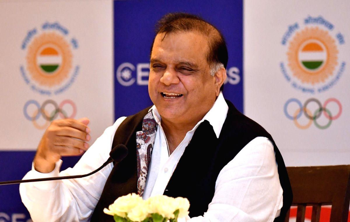 New Delhi: Indian Olympic Association President Narinder Dhruv Batra addresses a press conference in New Delhi on June 2, 2018.