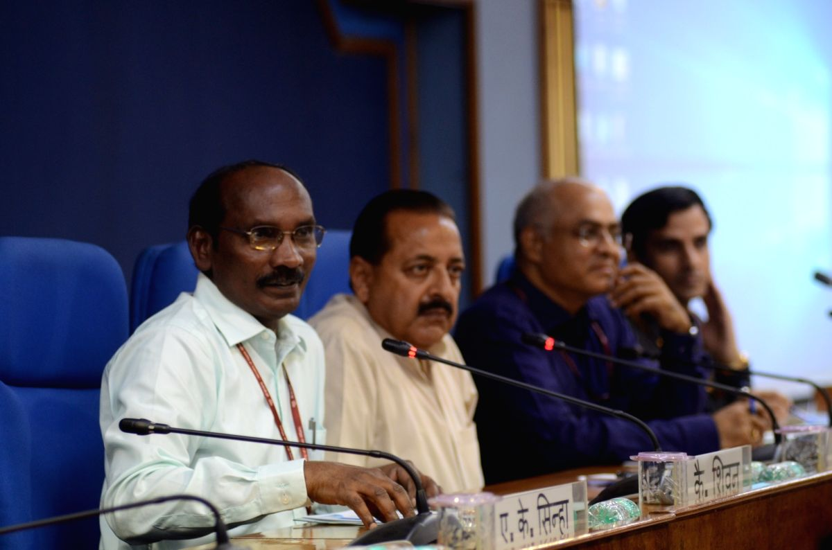 New Delhi: Indian Space Research Organisation (ISRO) Chairman K. Sivan accompanied by Union Minister of State for Atomic Energy and Space Jitendra Singh, addresses a press conference ahead of the launch of ISRO's second moon mission Chandrayaan-2, in
