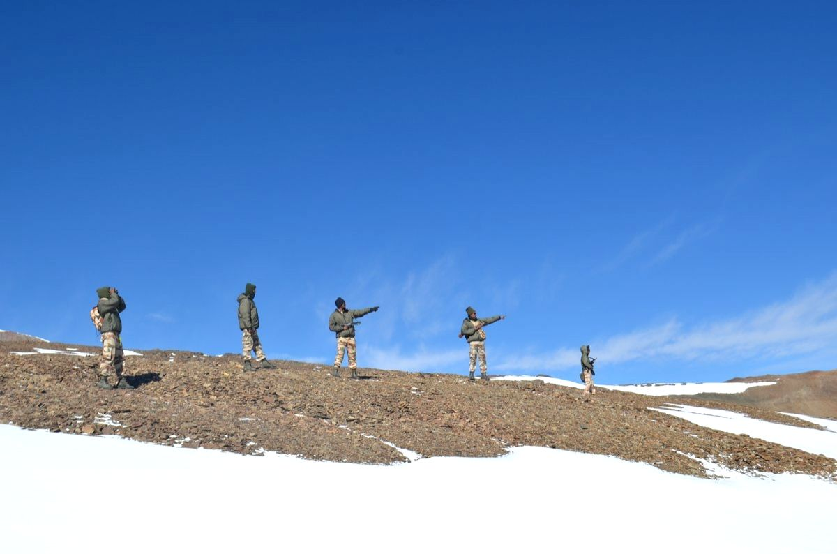 New Delhi: Indo-Tibetan Border Police (ITBP) personnel on snow ridges of Himalayas. (Photo: IANS/ITBP)