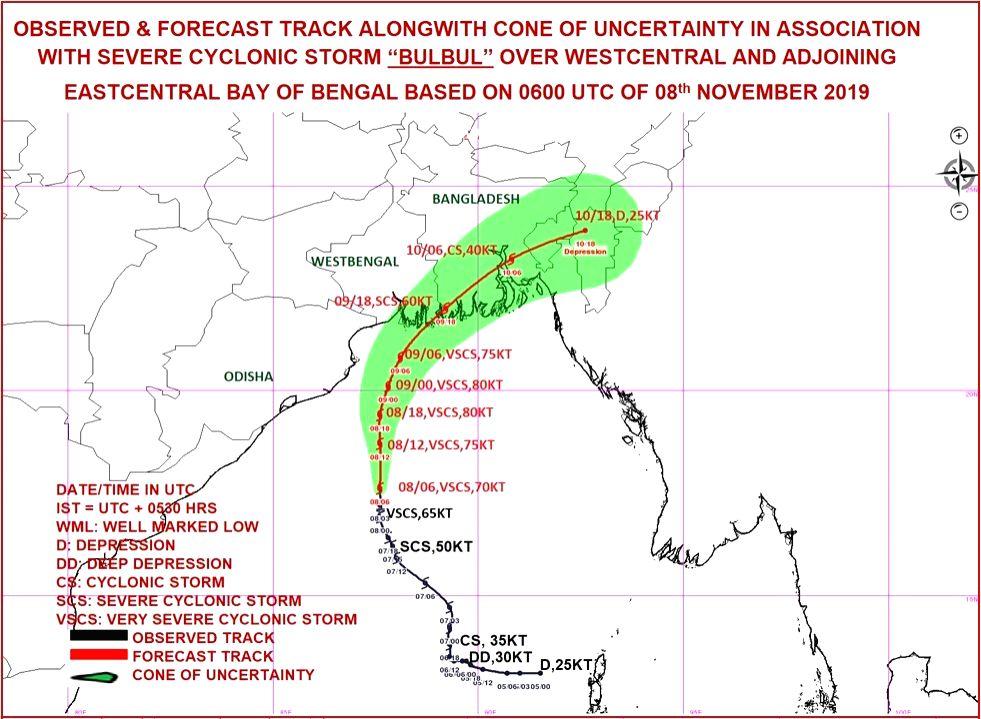 New Delhi: Intensifying into a Very Severe Cyclone, Bulbul now lies more than 500 kilometer South of Kolkata, and could make landfall around Saturday-Sunday midnight between Khepupara in Bangladesh and Sagar island in West Bengal in the sundarabans a