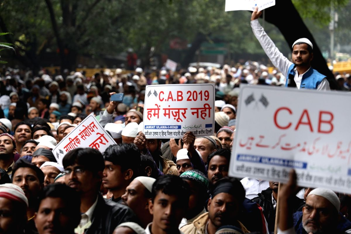 New Delhi: Jamiat Ulema-e-Hind activists stage a massive protest against the Citizenship Amendment Bill (CAB), in New Delhi on Dec 13, 2019.