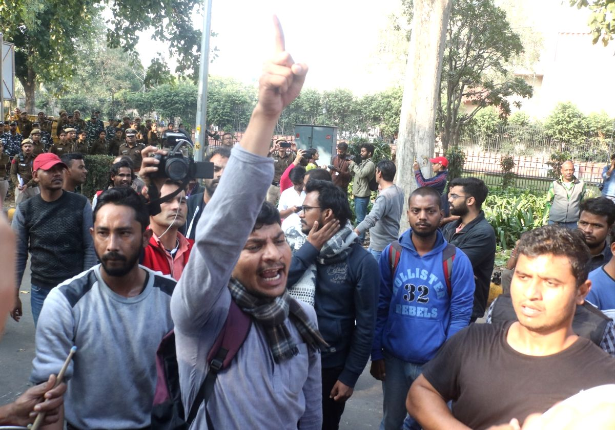 New Delhi: JNU students stage a demonstration to demand a complete rollback of the proposed hostel fee hike in New Delhi on Nov 29, 2019. (Photo: Bidesh Manna/IANS)
