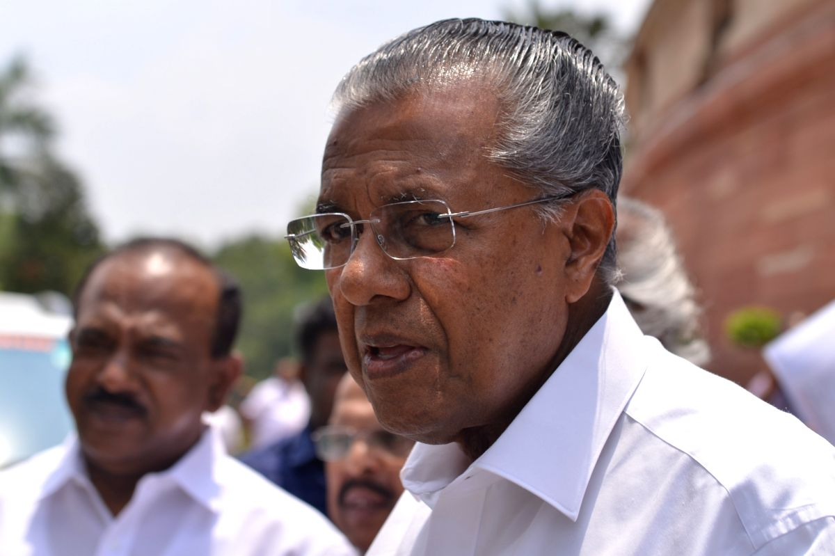 New Delhi: Kerala Chief Minister Pinarayi Vijayan seen leaving after day-2 of Parliament's monsoon session, in New Delhi, on July 19, 2018.