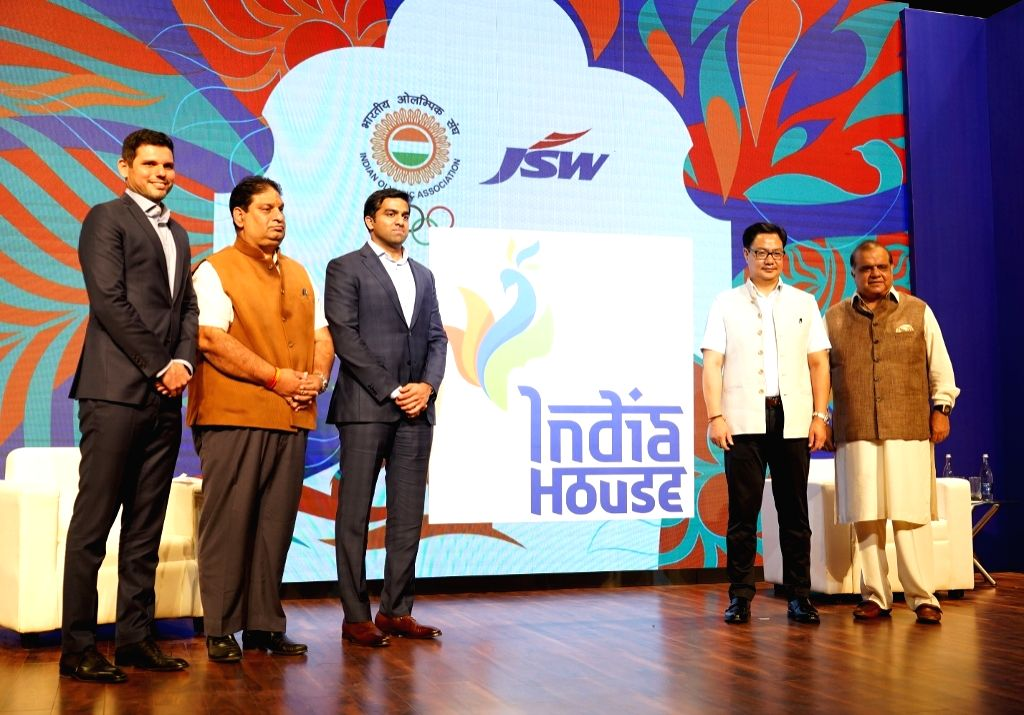 New Delhi: (L-R) JSW Sports CEO Mustafa Ghouse, Indian Olympic Association (IOA) Secretary General Rajeev Mehta, JSW Sports Director Parth Jindal, Union MoS Youth Affairs and Sports (Independent Charge) Kiren Rijiju and IOA President Narinder Dhruv B