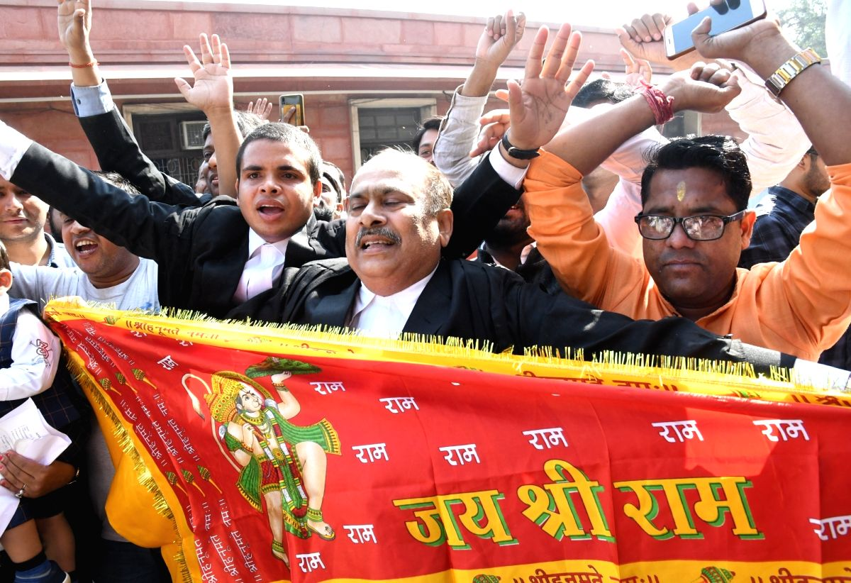 New Delhi: Lawyers chant 'Jai Shri Ram' slogans as they celebrate the Supreme Court's verdict in Ayodhya title dispute case, in New Delhi on Nov 9, 2019. The apex court ruled to give the disputed land in Ayodhya to the Hindus for a temple and five ac