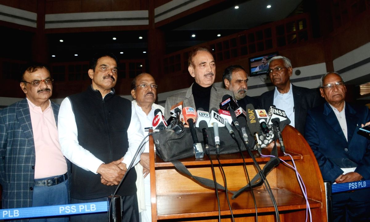New Delhi: Leader of Opposition in Rajya Sabha Ghulam Nabi Azad addresses a press conference after all party meeting in New Delhi on Feb 16, 2019.
