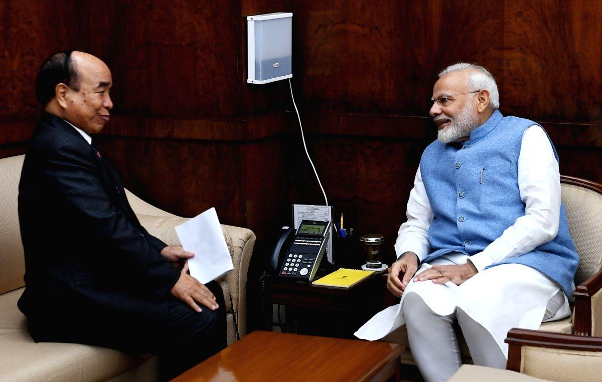 New Delhi: Mizoram Chief Minister Zoramthanga calls on Prime Minister Narendra Modi in New Delhi on Dec 5, 2019. (Photo: IANS/PIB)