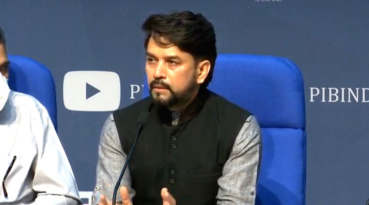 New Delhi: MoS for Finance Anurag Thakur addresses a press conference on the Rs 20 lakh crore economic package announced by Prime Minister Narendra Modi in his address to the nation earlier this week, at National Media Center in New Delhi on May 17,
