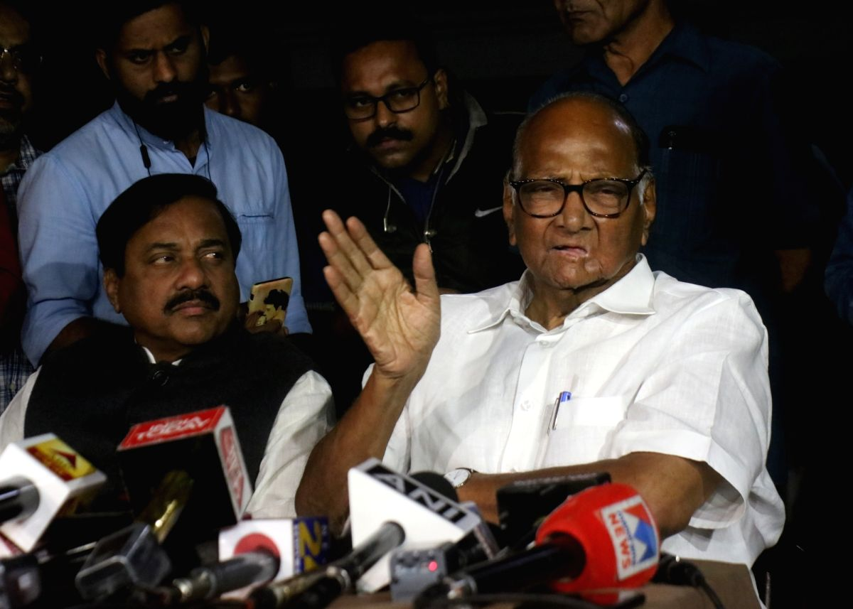 New Delhi: NCP chief Sharad Pawar addresses a press conference after meeting Congress President Sonia Gandhi in New Delhi on Nov 18, 2019.