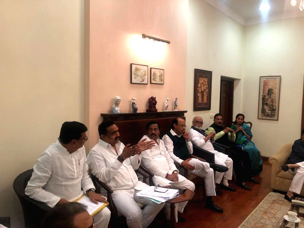 New Delhi: NCP leaders Ajit Pawar, Chhagan Bhujbal, Supriya Sule and other leaders of the party during a meeting of the leaders of NCP and Congress at NCP chief Sharad Pawar's residence in New Delhi on Nov 20, 2019.