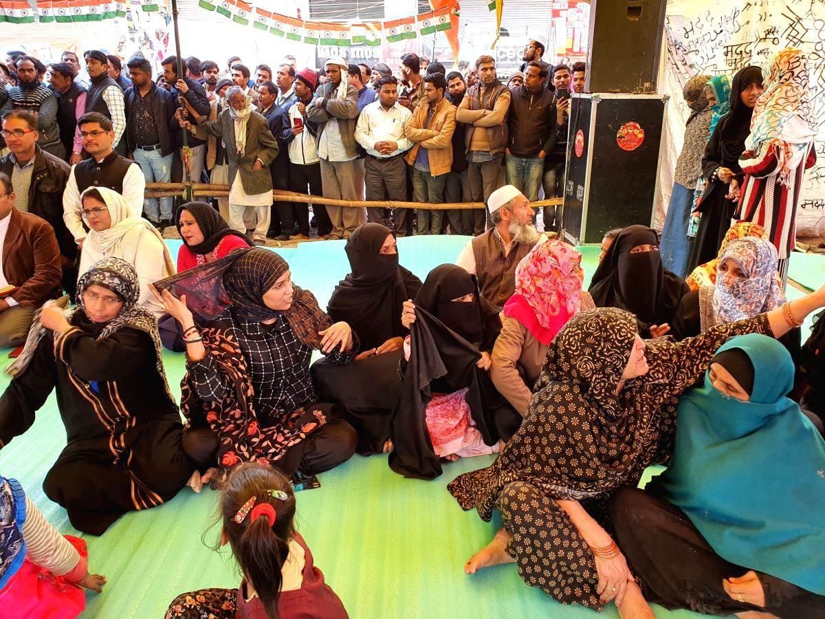 New Delhi: People from different religious communities participate in 'All-religion prayers' organised at Shaheen Bagh, where people have been protesting against the Citizenship Amendment Act (CAA) 2019, National Register of Citizens (NRC) and Nation