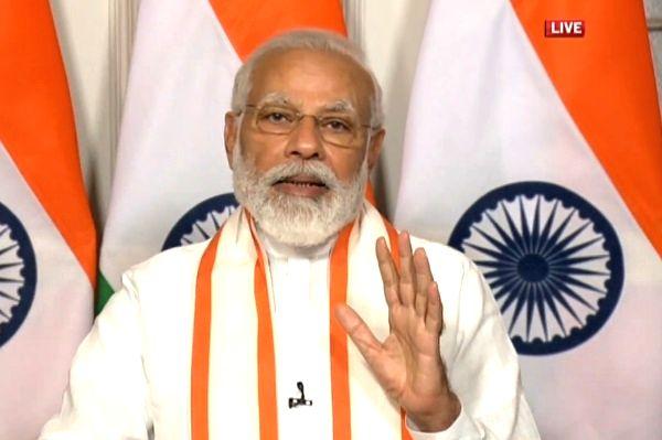 New Delhi: Prime Minister Narendra Modi addresses 125th year celebrations of CII via video conferencing, in New Delhi on June 2, 2020. (Photo: IANS/BJP)