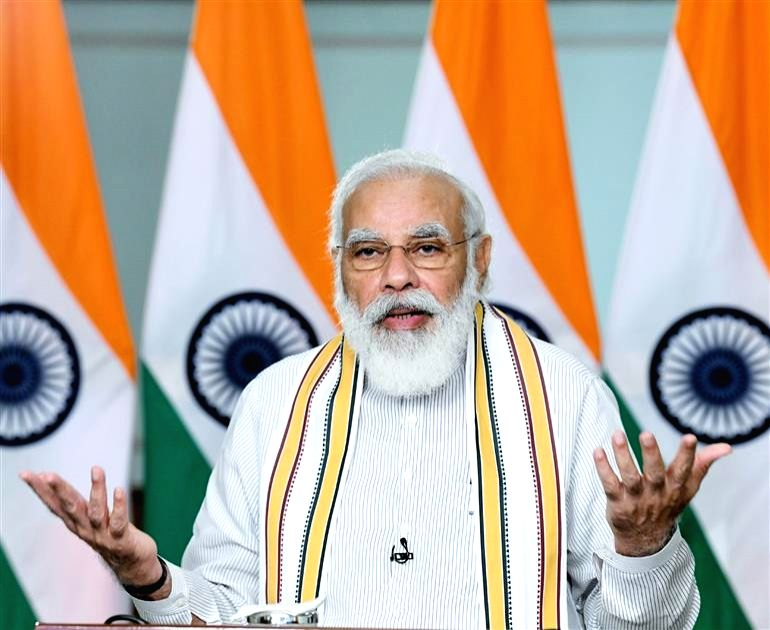 """New Delhi: Prime Minister Narendra Modi addresses a Conclave on """"School Education in 21st Century"""" under the National Education Policy (NEP) 2020, through video conferencing, in New Delhi on Sep 11, 2020. (Photo: IANS/PIB)"""