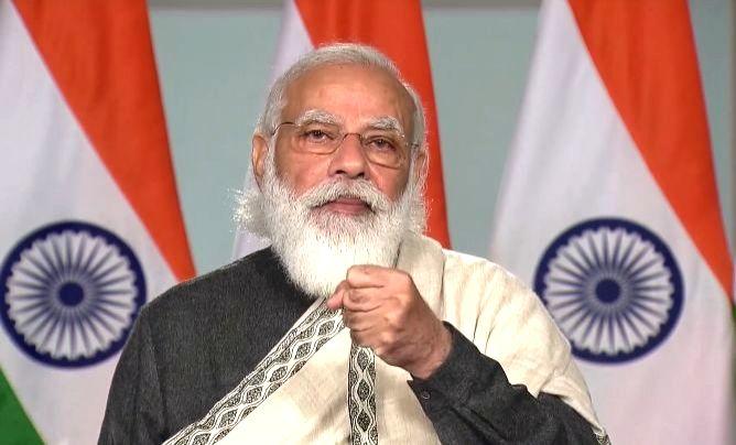 New Delhi: Prime Minister Narendra Modi addresses on Constitution Day via video conferencing, in New Delhi on Nov 26, 2020.