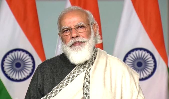 New Delhi: Prime Minister Narendra Modi addresses on Constitution Day via video conferencing, in New Delhi on Nov 26, 2020.
