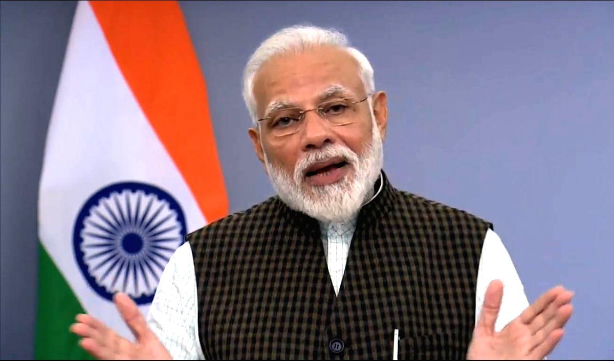 New Delhi: Prime Minister Narendra Modi addresses the nation after the Supreme Court's verdict on the Ram Janmabhoomi-Babri Masjid title dispute case in Ayodhya; in New Delhi on Nov 9, 2019.