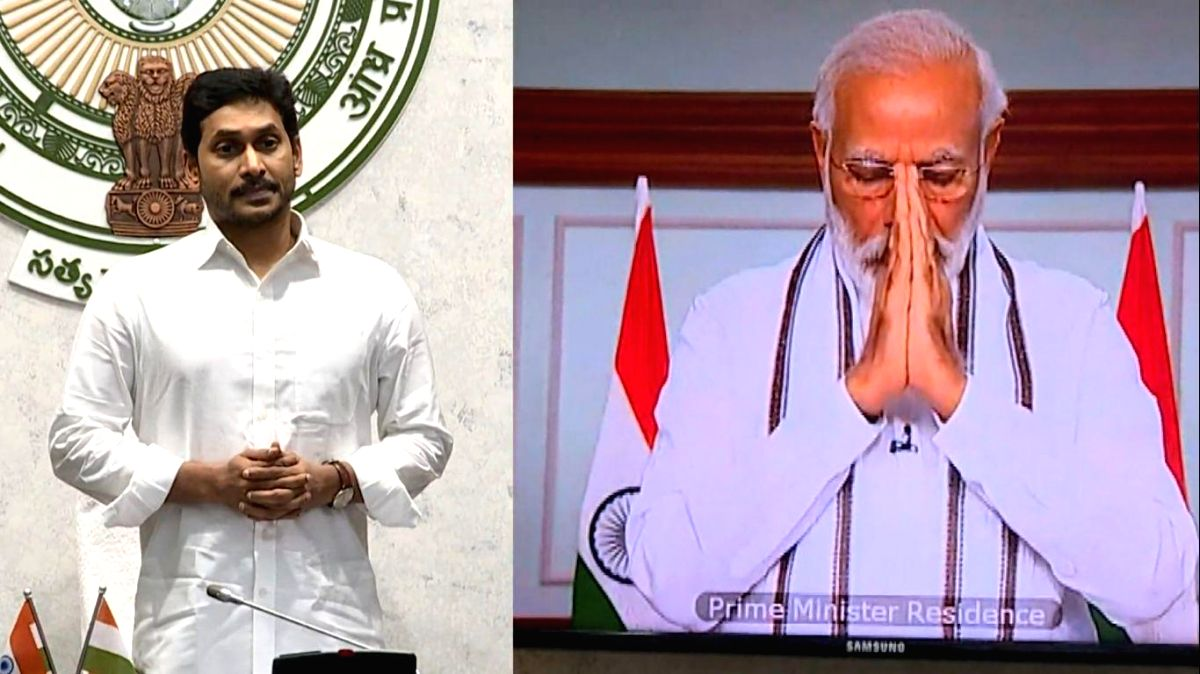 New Delhi: Prime Minister Narendra Modi and Andhra Pradesh Chief Minister and YSR Congress Party chief YS Jagan Mohan Reddy pay tributes to the martyrs, at an all-party meeting called by the Prime Minister over the killing of 20 Indian soldiers by Ch