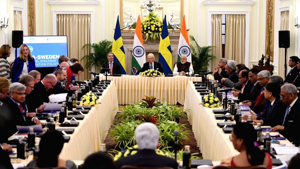 New Delhi: Prime Minister Narendra Modi and the King Carl XVI Gustaf of Sweden at the India-Sweden High Level Dialogue on Innovation Policy, at Hyderabad House in New Delhi on Dec 2, 2019. (Photo: IANS/PIB)
