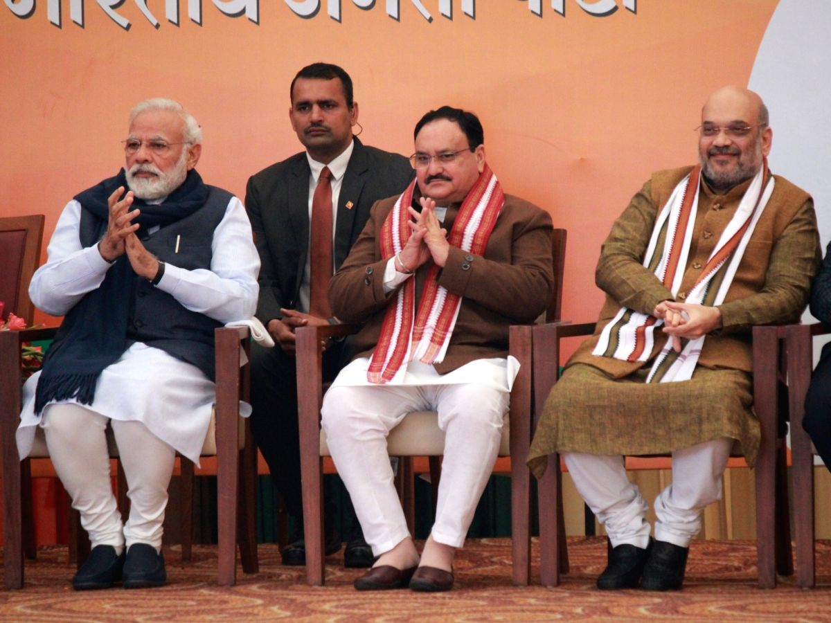 New Delhi: Prime Minister Narendra Modi and Union Home Minister Amit Shah with the newly appointed BJP National President JP Nadda at a felicitation programme organised for him at the BJP Headquarters in New Delhi on Jan 20, 2020. (Photo: Amlan Paliw