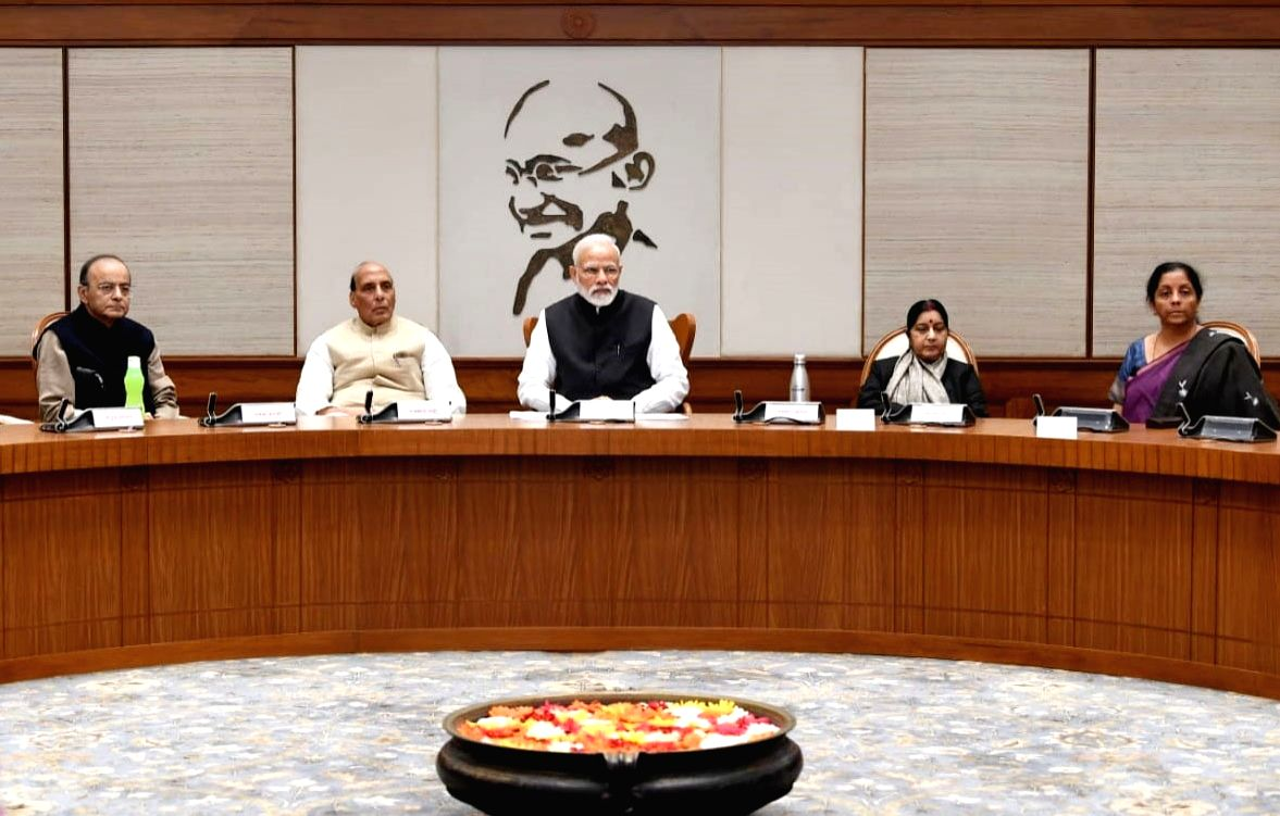 New Delhi: Prime Minister Narendra Modi chairing the meeting of the Cabinet Council of Security, at Lok Kalyan Marg in New Delhi on Feb. 15, 2019. (Photo:IANS/PIB)