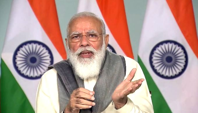 New Delhi: Prime Minister Narendra Modi gives his closing remarks after chairing a meeting to take stock of the Covid-19 situation in the eight worst-hit states in his first leg of PM-CM meeting via video conferencing, in New Delhi on Nov 24, 2020. M