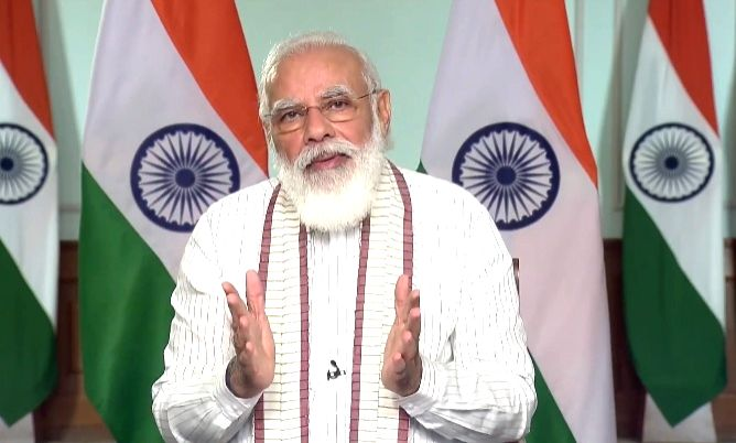 New Delhi: Prime Minister Narendra Modi interacts with fitness aficionados and citizens during the Fit India Dialogue via video conferencing in New Delhi on Sep 24, 2020.