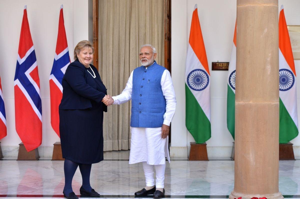 New Delhi: Prime Minister Narendra Modi meets Norwegian Prime Minister Erna Solberg ahead of the delegation-level talks at Hyderabad House in New Delhi, on Jan 8, 2019.