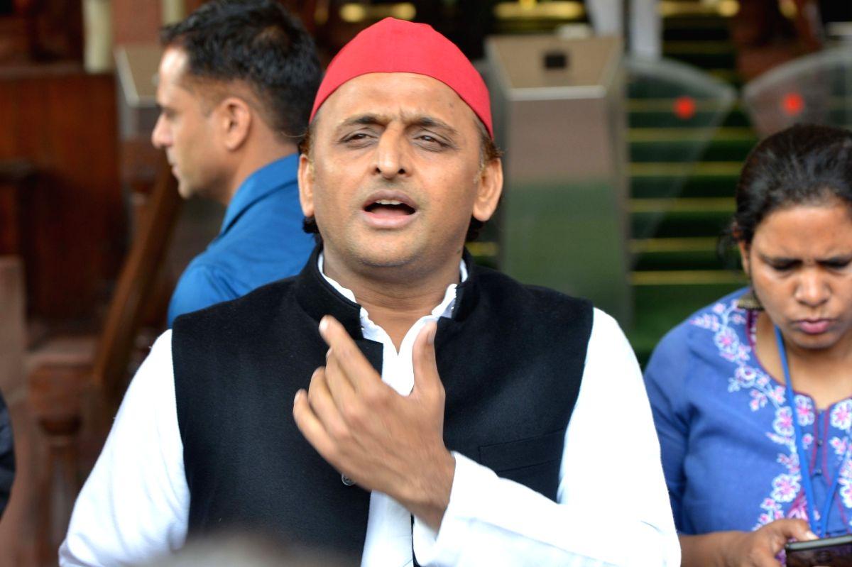 New Delhi: Samajwadi Party MP Akhilesh Yadav at Parliament, in New Delhi on March 12, 2020.