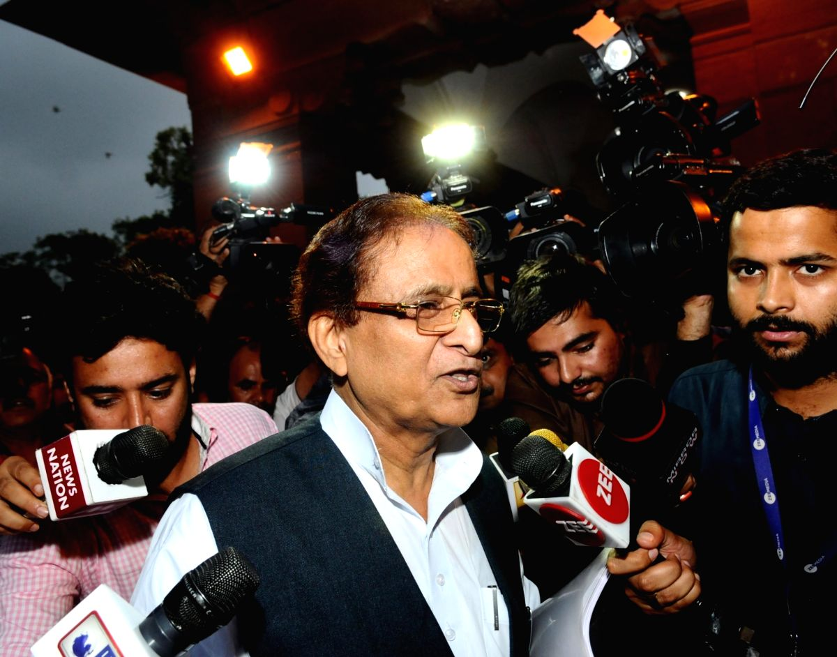 New Delhi: Samajwadi Party MP Azam Khan talks to media personnel at Parliament, in New Delhi on July 25, 2019. The Lok Sabha on Thursday witnessed an uproar over Azam Khan's comment on BJP MP Rama Devi when she was presiding over the house during the