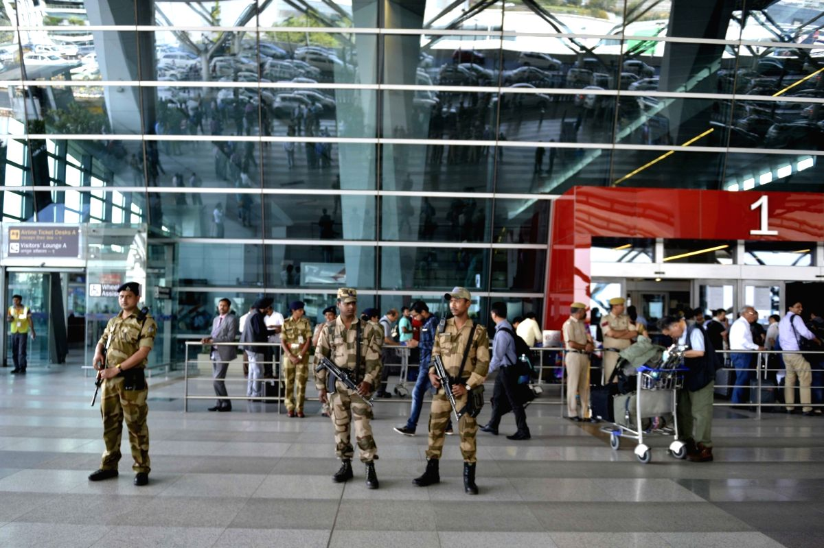 New Delhi: Security beefed up at Indira Gandhi International Airport after Air India and all private carriers refused to fly Shiv Sena MP Ravindra Gaikwad  for assaulting an airline employee in New Delhi, on March 24, 2017.
