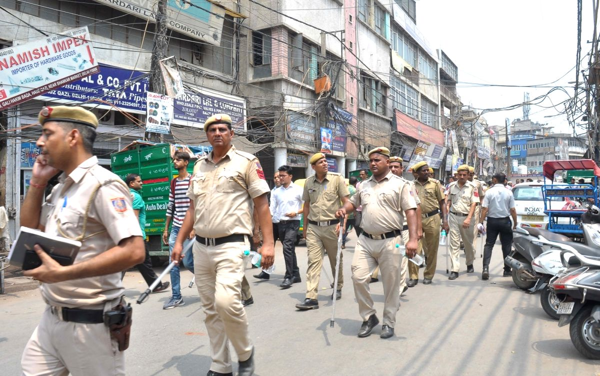 New Delhi: Security beefed up in Hauz Qazi area where trouble erupted late on Sunday over parking of vehicles and quickly assumed communal overtones, in New Delhi on July 3, 2019. A plea was filed in the Delhi High Court on Wednesday seeking a court