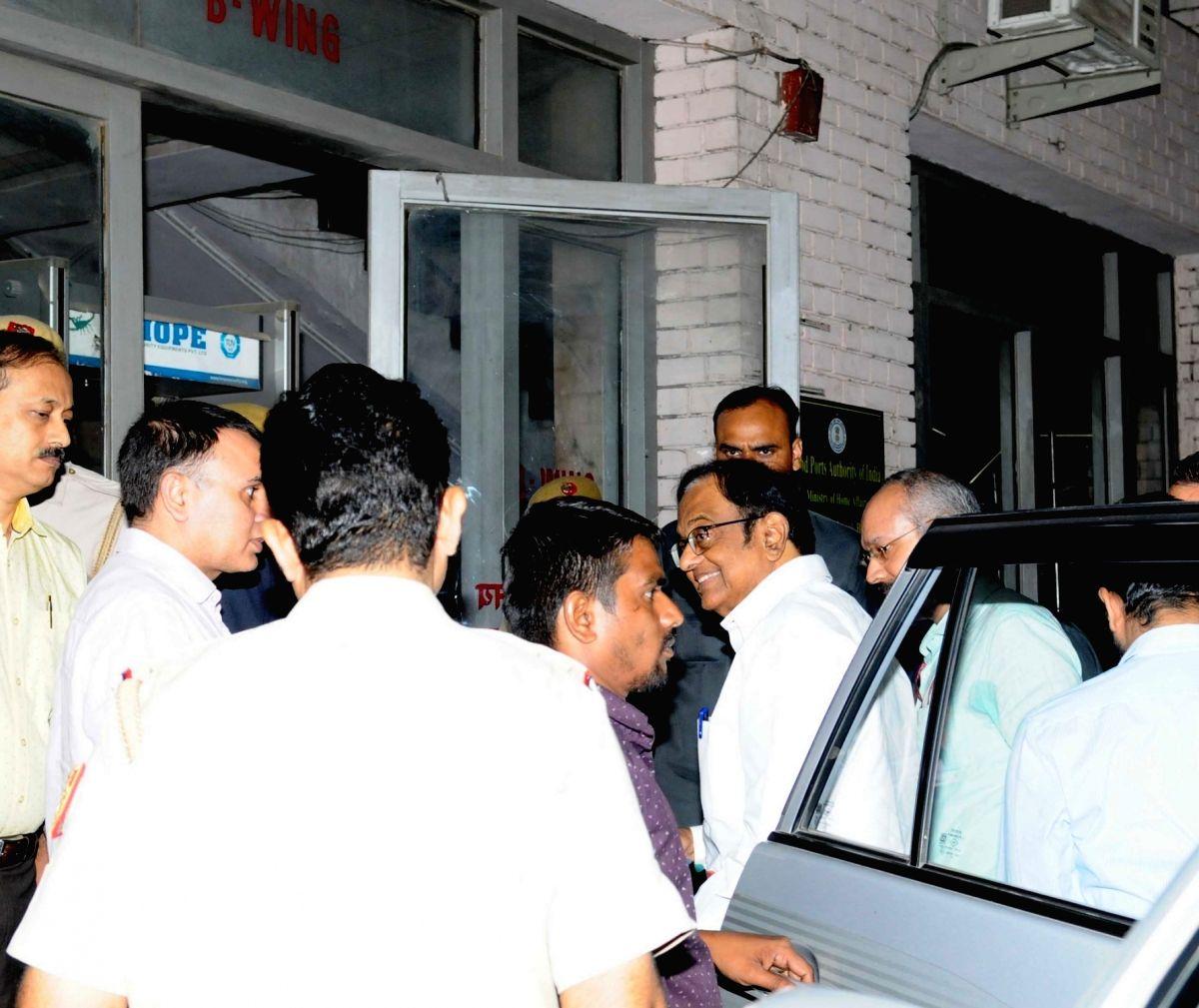 New Delhi:  Senior Congress leader and Former Finance Minister P. Chidambaram arrives at Enforcement Directorate office in New Delhi on Oct 17, 2019. Chidambaram has been sent to ED custody till Oct 24 in INX Media case. Judicial custody in CBI case