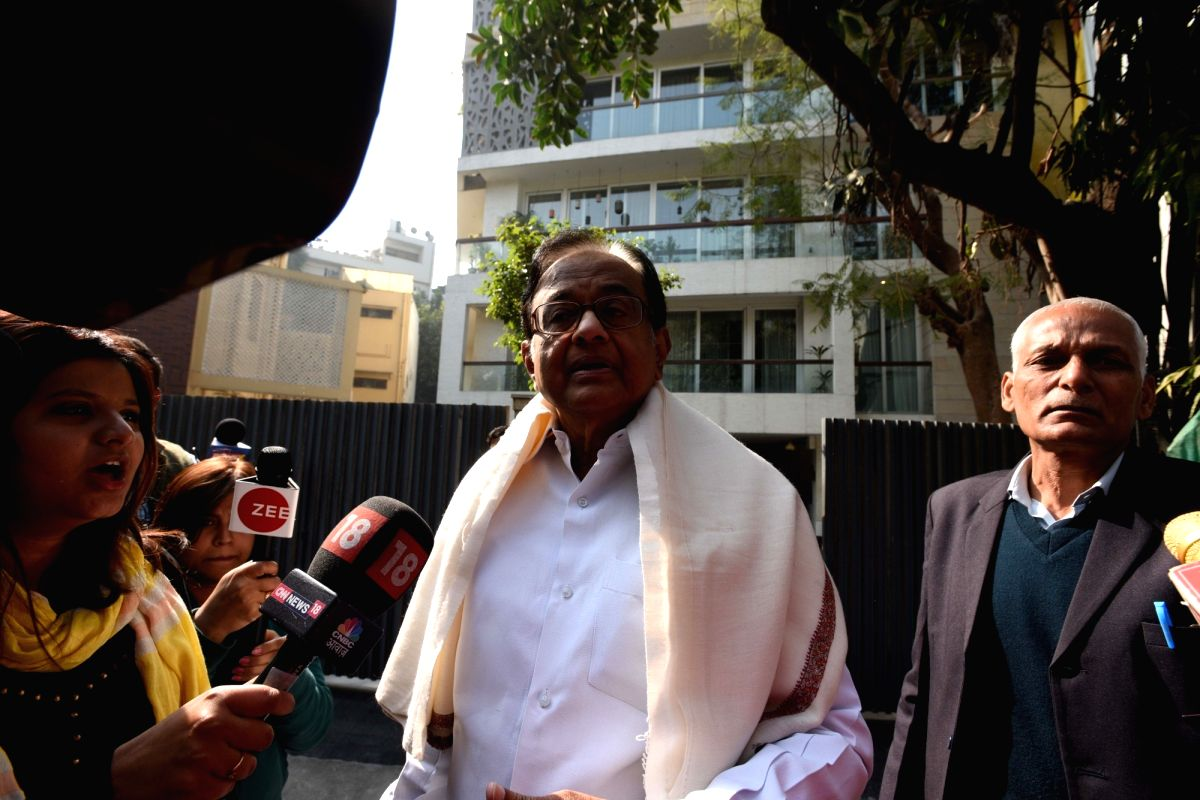 New Delhi: Senior Congress leader P. Chidambaram talks to the press at his Jor Bagh residence in New Delhi on Jan 13, 2018. The Enforcement Directorate on Saturday conducted raids on P. Chidambaram's son Karti's properties in Delhi and Chennai in con