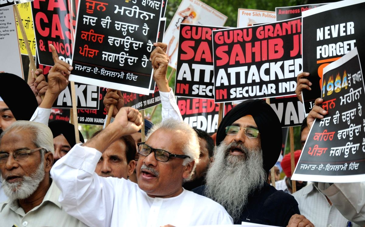 New Delhi: Sikhs participate in a protest march against 1984 anti-Sikh riots on its 31st anniversary in New Delhi on Nov 1, 2015.