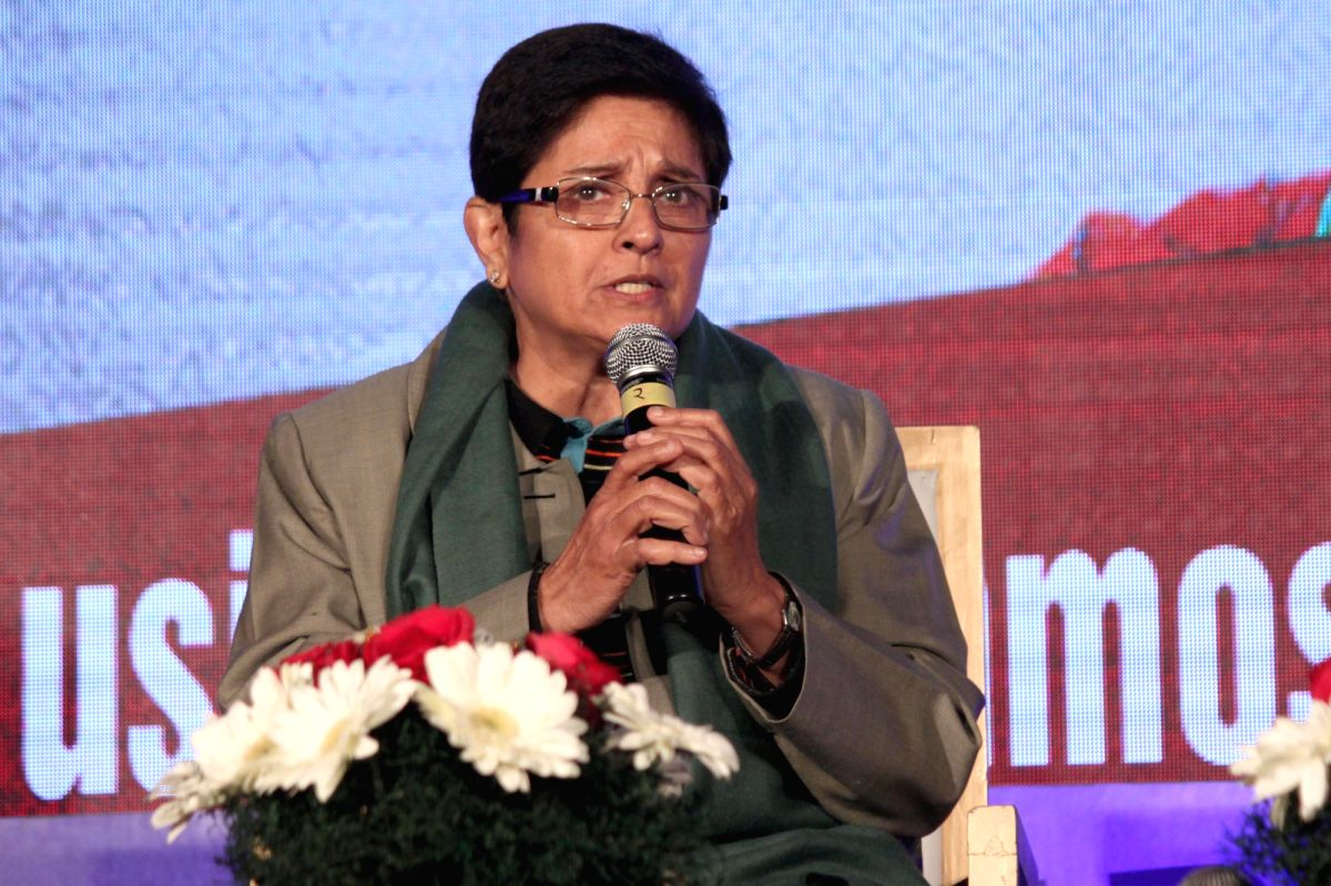 New Delhi: Social activist Dr Kiran Bedi during a discussion on `Battling Demons: Inner and Outer` organised by Colours TV, in New Delhi on Jan. 13, 2015. (Photo: Amlan Paliwal/IANS)