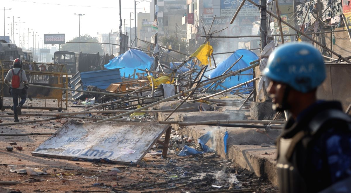 New Delhi: The destruction caused during violence that erupted on Monday over the Citizenship Amendment Act in northeast Delhi; on Feb 25, 2020. (Photo: Bidesh Manna/IANS)