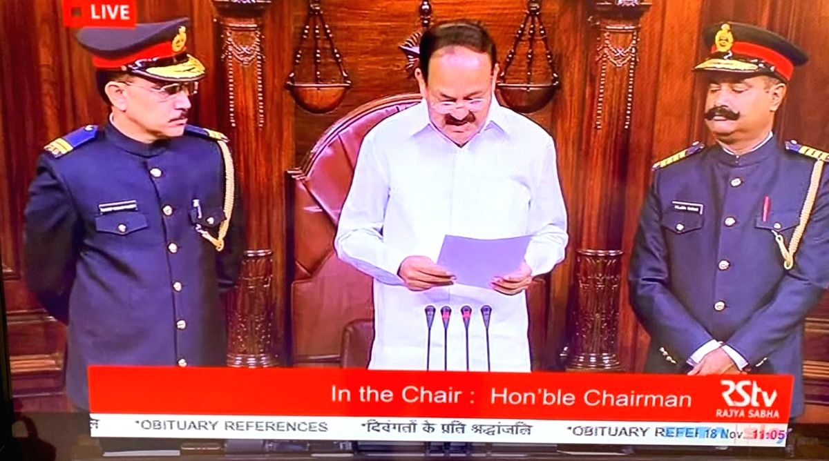 New Delhi: The marshals standing besides Rajya Sabha Chairman M. Venkaiah Naidu in a new uniform on the first day of the winter session of Parliament, in New Delhi on Nov 18, 2019. The new uniform resembles military and civil uniforms. Now the new lo