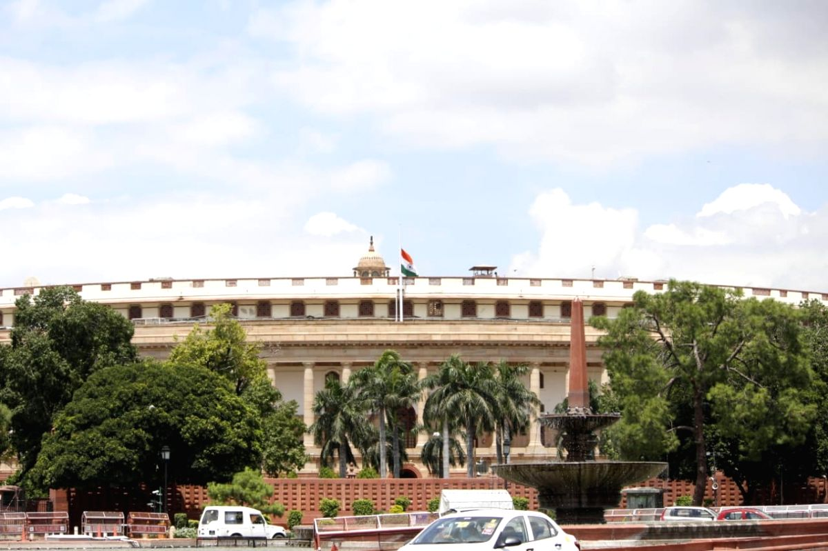 New Delhi: The national flag flies at half-mast at the Parliament House during a seven-day state mourning in memory of former President Pranab Mukherjee who passed away on Monday evening at Army's Research and Referral Hospital; in New Delhi on Sep 1