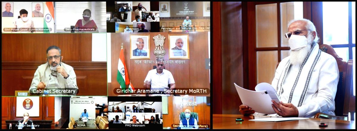 New Delhi:  The Prime Minister, Shri Narendra Modi holds a high-level meeting on oxygen supply and availability, through video conferencing, in New Delhi    (Photo: IANS/PIB)